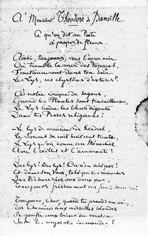 Lettre à Banville De 1871 Ce Quon Dit Au Poète
