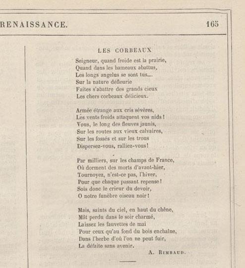 Rimbaud Les Corbeaux Texte Et Commentaire